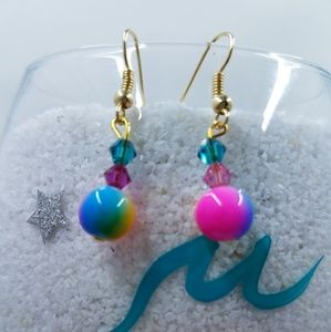 Beaded Swarovski Crystal Earrings